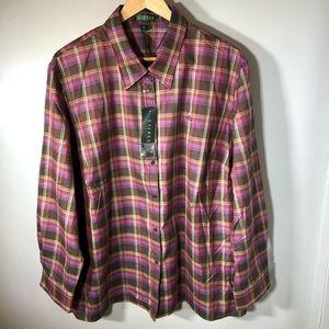 NWT Ralph Lauren Women's Button Up Plaid Shirt 3X